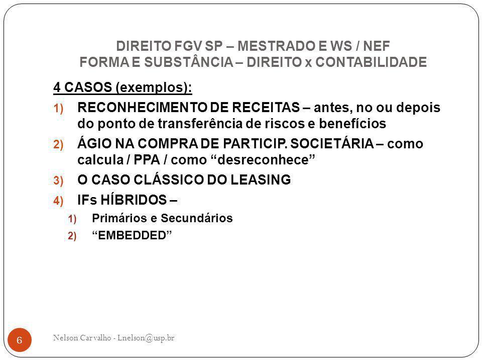 DIREITO FGV SP – MESTRADO E WS / NEF FORMA E SUBSTÂNCIA – DIREITO x CONTABILIDADE Nelson Carvalho - Lnelson@usp.br 6 4 CASOS (exemplos): 1) RECONHECIMENTO DE RECEITAS – antes, no ou depois do ponto de transferência de riscos e benefícios 2) ÁGIO NA COMPRA DE PARTICIP.