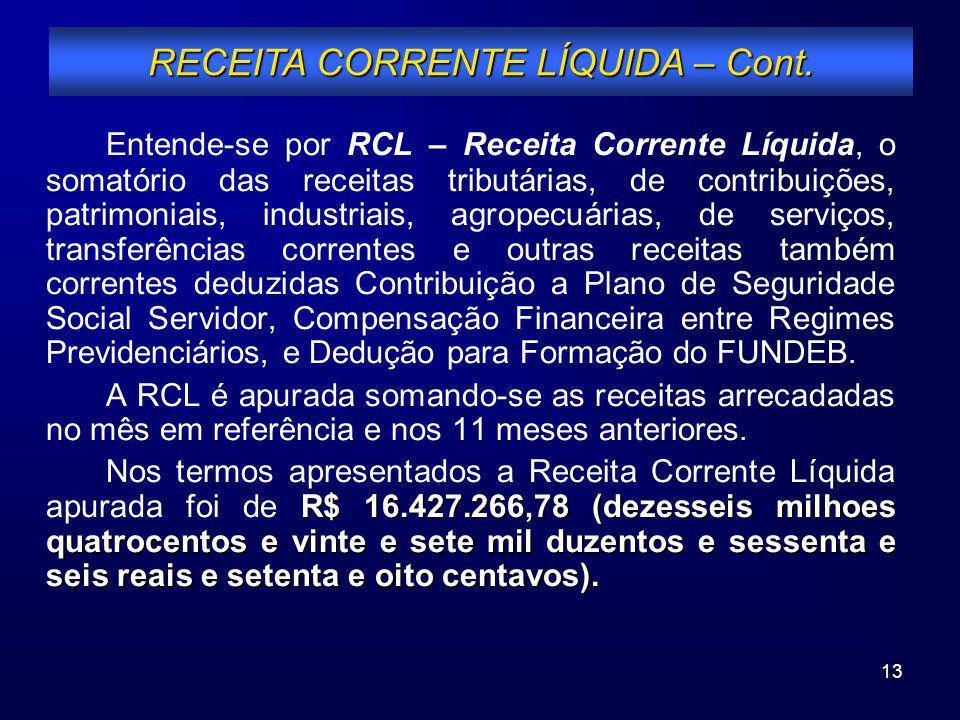 13 Entende-se por RCL – Receita Corrente Líquida, o somatório das receitas tributárias, de contribuições, patrimoniais, industriais, agropecuárias, de
