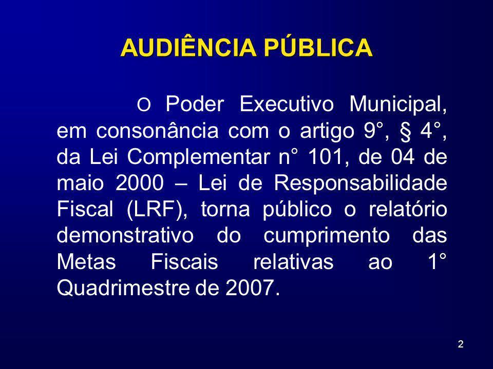 2 O Poder Executivo Municipal, em consonância com o artigo 9°, § 4°, da Lei Complementar n° 101, de 04 de maio 2000 – Lei de Responsabilidade Fiscal (