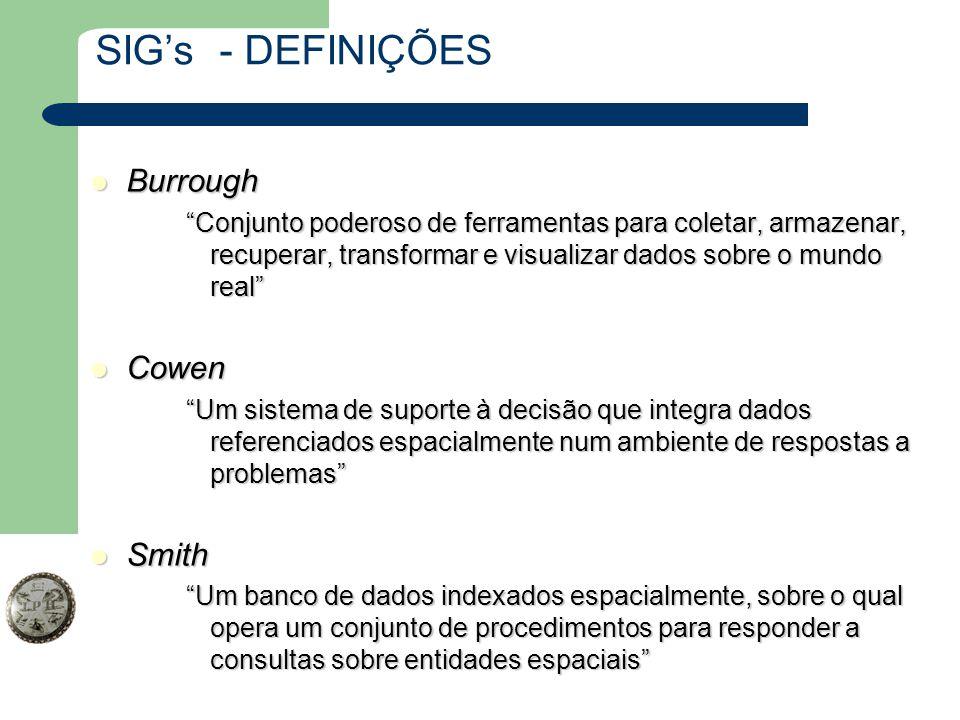 """SIG's - DEFINIÇÕES Burrough Burrough """"Conjunto poderoso de ferramentas para coletar, armazenar, recuperar, transformar e visualizar dados sobre o mund"""