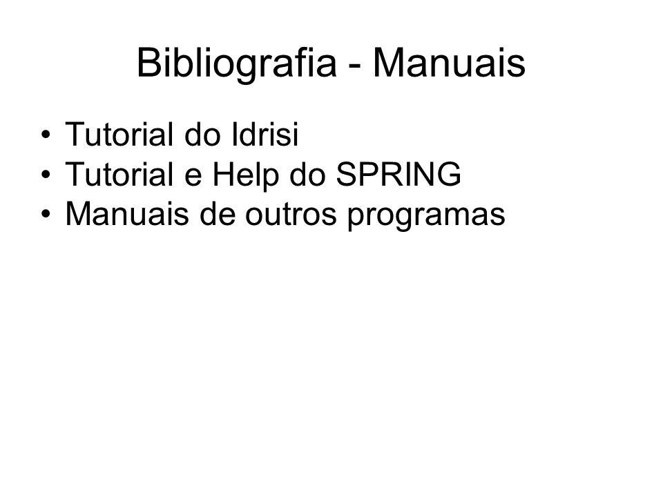 Bibliografia - Manuais Tutorial do Idrisi Tutorial e Help do SPRING Manuais de outros programas