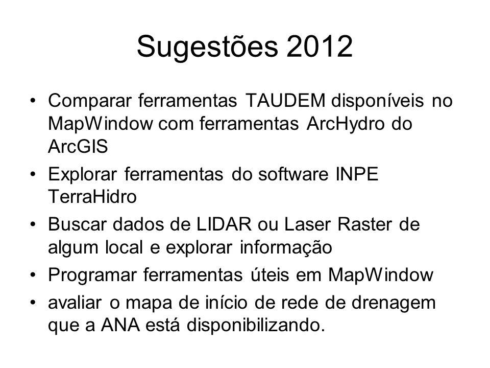 Sugestões 2012 Comparar ferramentas TAUDEM disponíveis no MapWindow com ferramentas ArcHydro do ArcGIS Explorar ferramentas do software INPE TerraHidr
