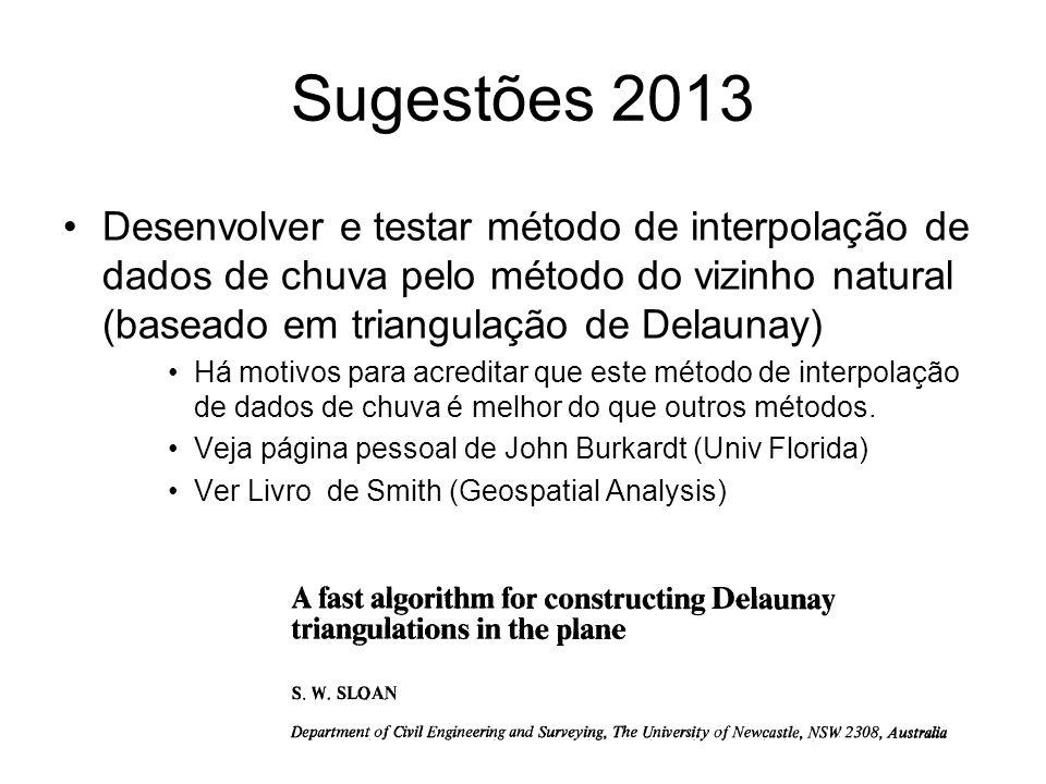 Sugestões 2013 Desenvolver e testar método de interpolação de dados de chuva pelo método do vizinho natural (baseado em triangulação de Delaunay) Há m