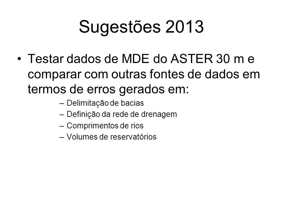 Sugestões 2013 Testar dados de MDE do ASTER 30 m e comparar com outras fontes de dados em termos de erros gerados em: –Delimitação de bacias –Definiçã