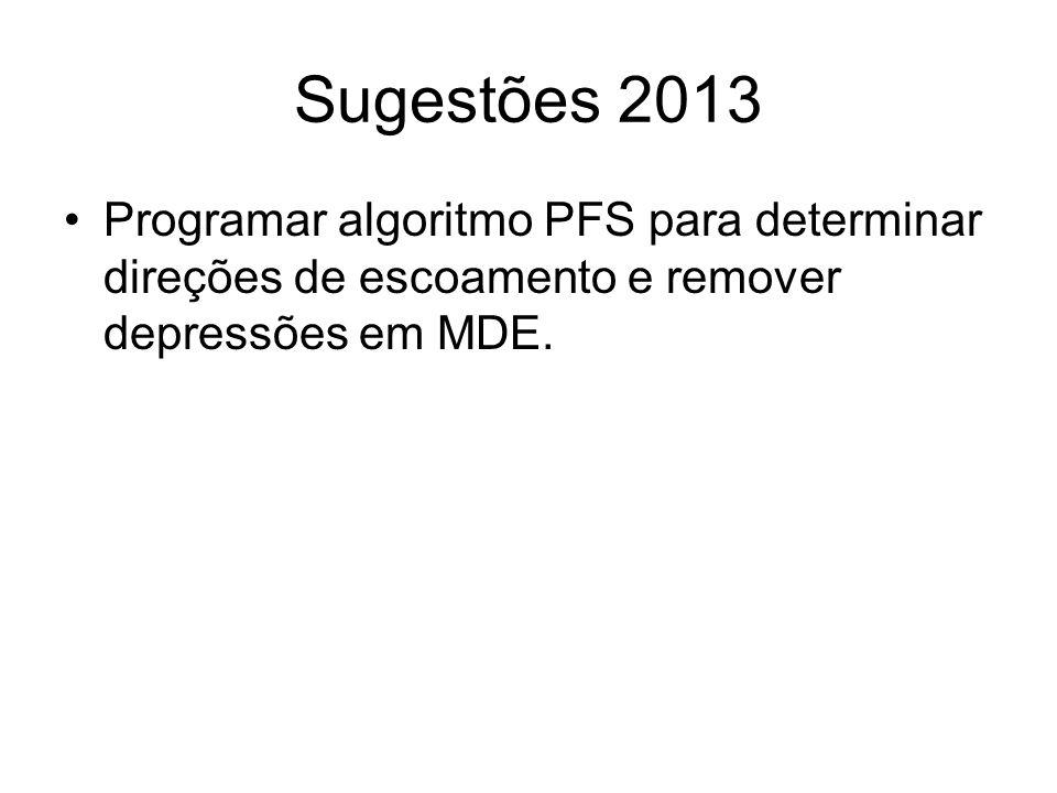 Sugestões 2013 Programar algoritmo PFS para determinar direções de escoamento e remover depressões em MDE.