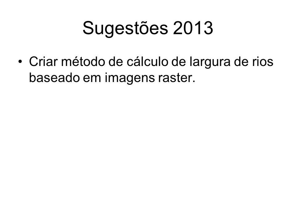 Sugestões 2013 Criar método de cálculo de largura de rios baseado em imagens raster.
