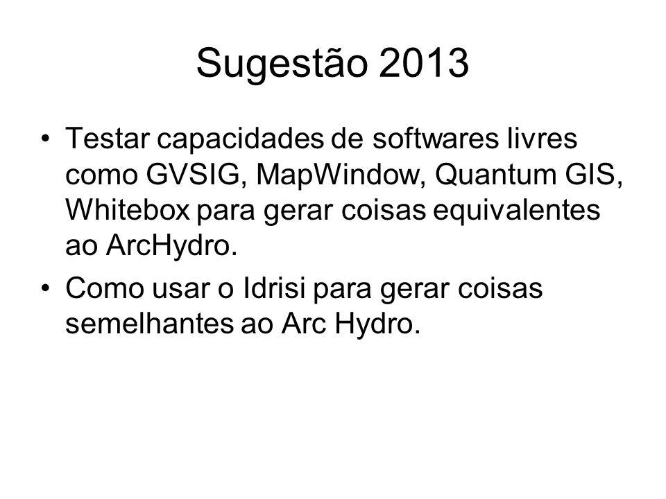 Sugestão 2013 Testar capacidades de softwares livres como GVSIG, MapWindow, Quantum GIS, Whitebox para gerar coisas equivalentes ao ArcHydro. Como usa