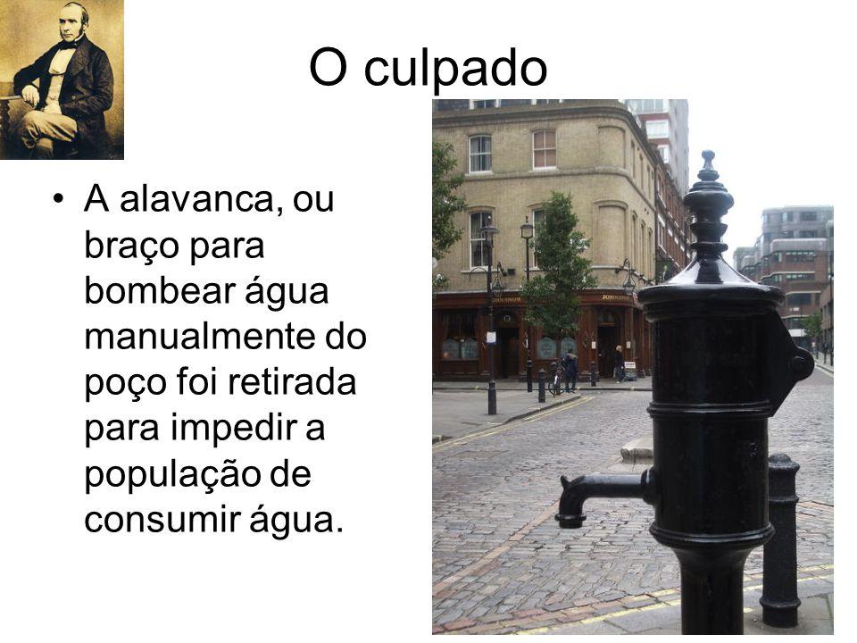 O culpado A alavanca, ou braço para bombear água manualmente do poço foi retirada para impedir a população de consumir água.