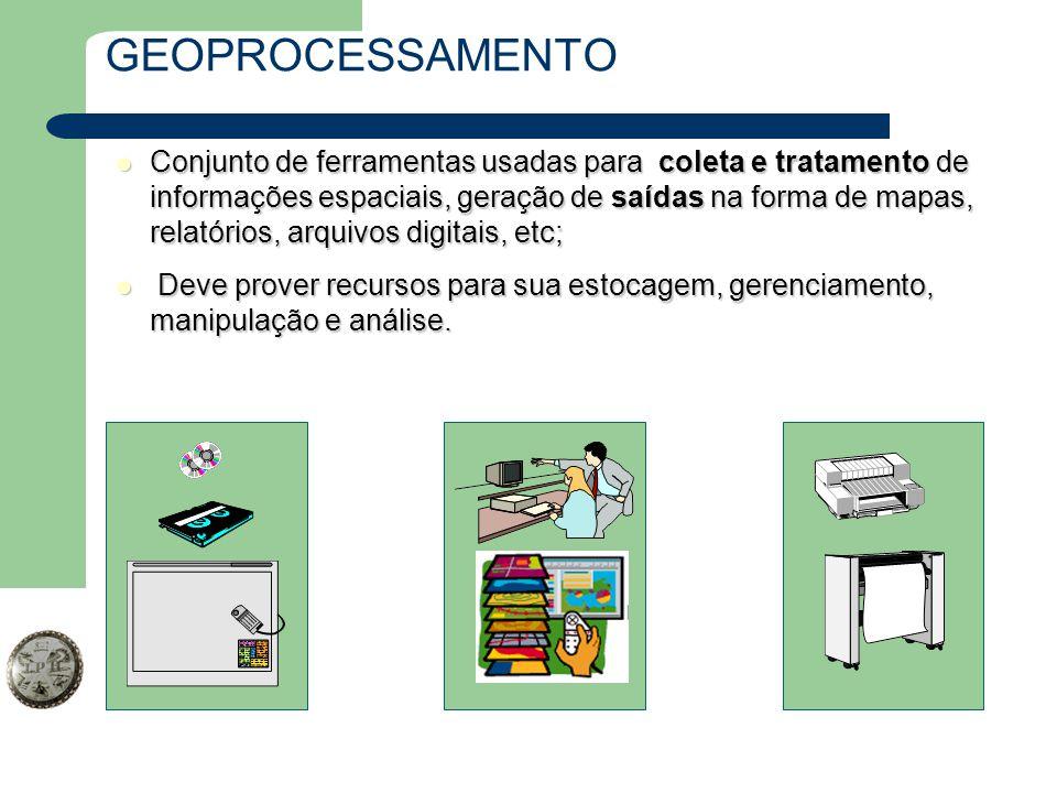 GEOPROCESSAMENTO Conjunto de ferramentas usadas para coleta e tratamento de informações espaciais, geração de saídas na forma de mapas, relatórios, ar