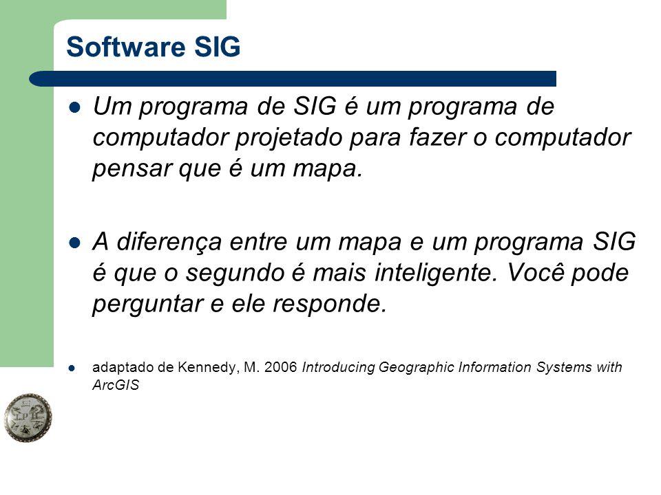 Software SIG Um programa de SIG é um programa de computador projetado para fazer o computador pensar que é um mapa. A diferença entre um mapa e um pro