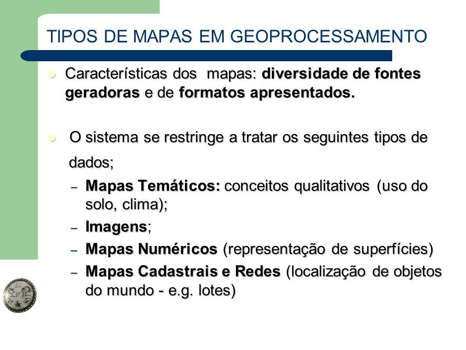 TIPOS DE MAPAS EM GEOPROCESSAMENTO Características dos mapas: diversidade de fontes geradoras e de formatos apresentados. Características dos mapas: d