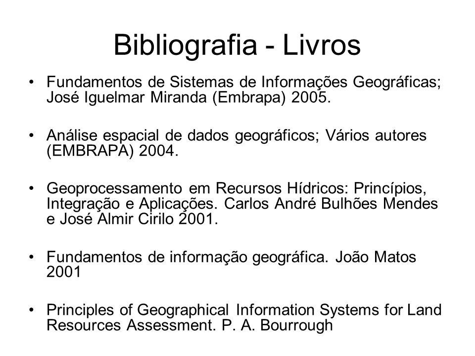 Bibliografia - Livros Fundamentos de Sistemas de Informações Geográficas; José Iguelmar Miranda (Embrapa) 2005. Análise espacial de dados geográficos;