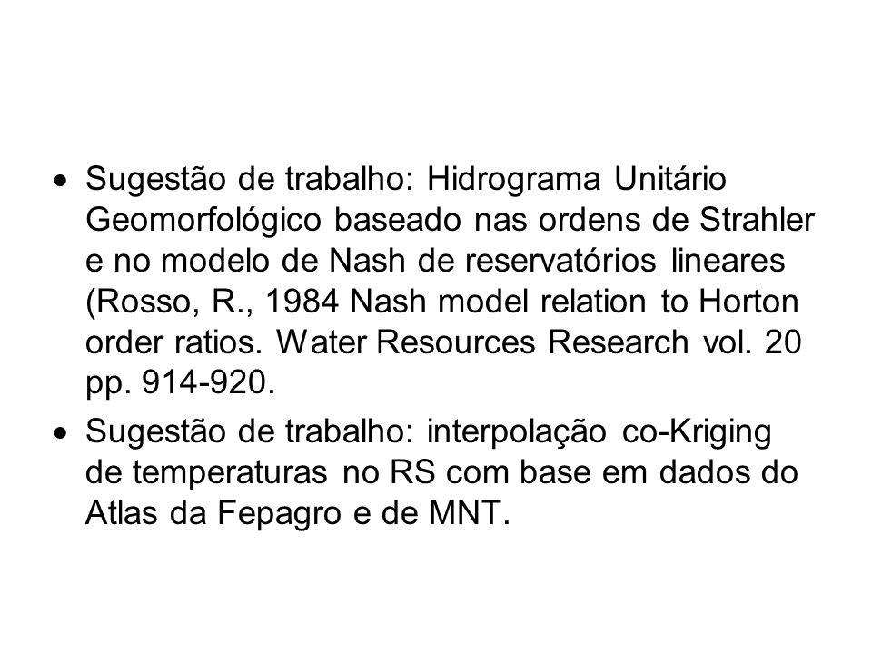  Sugestão de trabalho: Hidrograma Unitário Geomorfológico baseado nas ordens de Strahler e no modelo de Nash de reservatórios lineares (Rosso, R., 19