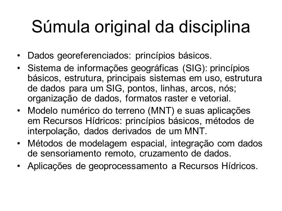 Súmula original da disciplina Dados georeferenciados: princípios básicos. Sistema de informações geográficas (SIG): princípios básicos, estrutura, pri