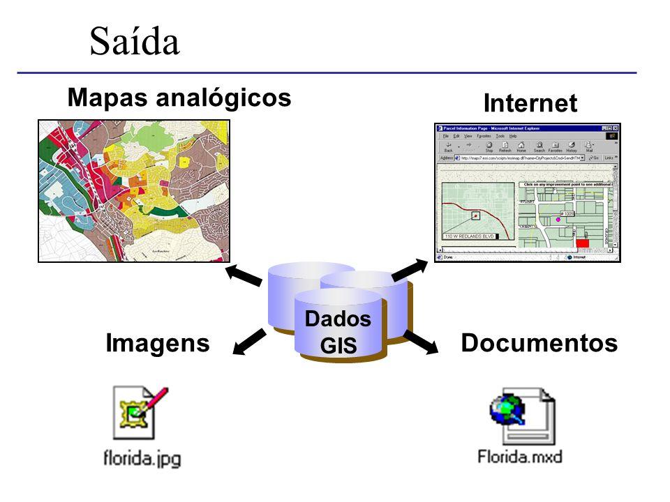 DocumentosImagens Saída Internet Mapas analógicos Dados GIS