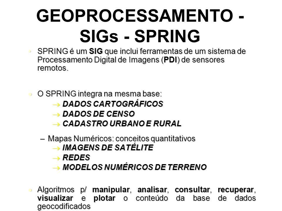 GEOPROCESSAMENTO - SIGs - SPRING SPRINGé um SIG que inclui ferramentas de um sistema de Processamento Digital de Imagens (PDI) de sensores remotos.SPRING é um SIG que inclui ferramentas de um sistema de Processamento Digital de Imagens (PDI) de sensores remotos.