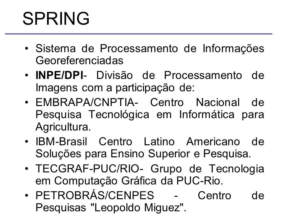 SPRING Sistema de Processamento de Informações Georeferenciadas INPE/DPI- Divisão de Processamento de Imagens com a participação de: EMBRAPA/CNPTIA- Centro Nacional de Pesquisa Tecnológica em Informática para Agricultura.