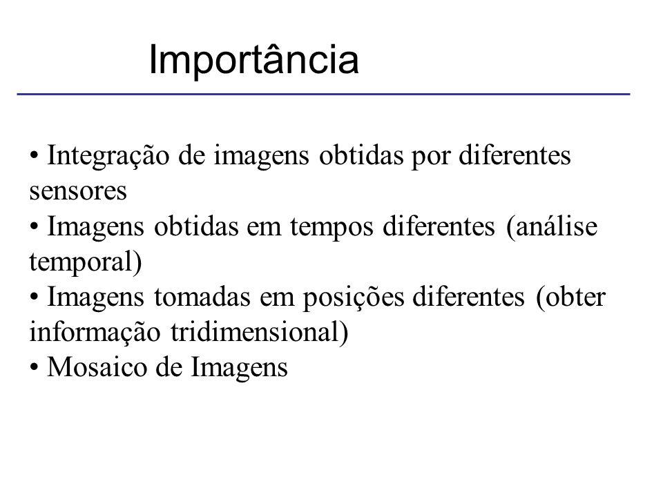 Importância Integração de imagens obtidas por diferentes sensores Imagens obtidas em tempos diferentes (análise temporal) Imagens tomadas em posições diferentes (obter informação tridimensional) Mosaico de Imagens