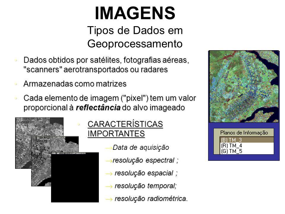 IMAGENS Tipos de Dados em Geoprocessamento Dados obtidos por satélites, fotografias aéreas, scanners aerotransportados ou radaresDados obtidos por satélites, fotografias aéreas, scanners aerotransportados ou radares Armazenadas como matrizesArmazenadas como matrizes Cada elemento de imagem ( pixel ) tem um valor proporcional à reflectância do alvo imageadoCada elemento de imagem ( pixel ) tem um valor proporcional à reflectância do alvo imageado CARACTERÍSTICAS IMPORTANTESCARACTERÍSTICAS IMPORTANTES  Data de aquisição  resolução espectral ;  resolução espacial ;  resolução temporal;  resolução radiométrica.