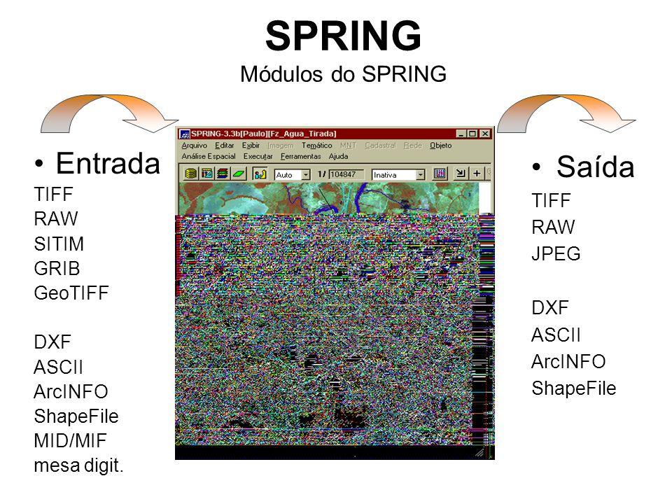 SPRING Módulos do SPRING Entrada TIFF RAW SITIM GRIB GeoTIFF DXF ASCII ArcINFO ShapeFile MID/MIF mesa digit.