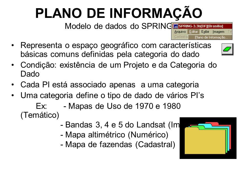 PLANO DE INFORMAÇÃO Modelo de dados do SPRING Representa o espaço geográfico com características básicas comuns definidas pela categoria do dado Condição: existência de um Projeto e da Categoria do Dado Cada PI está associado apenas a uma categoria Uma categoria define o tipo de dado de vários PI's Ex: - Mapas de Uso de 1970 e 1980 (Temático) - Bandas 3, 4 e 5 do Landsat (Imagem) - Mapa altimétrico (Numérico) - Mapa de fazendas (Cadastral)