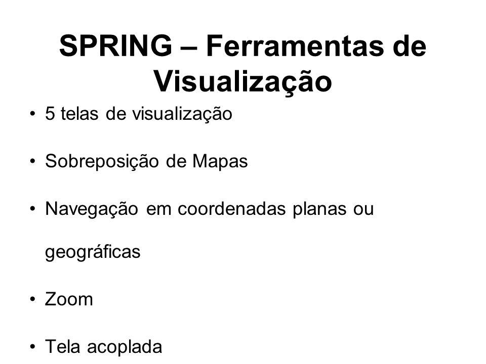SPRING – Ferramentas de Visualização 5 telas de visualização Sobreposição de Mapas Navegação em coordenadas planas ou geográficas Zoom Tela acoplada