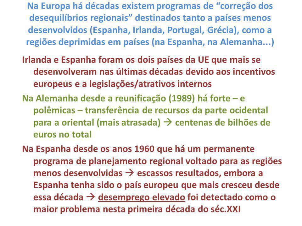 """Na Europa há décadas existem programas de """"correção dos desequilíbrios regionais"""" destinados tanto a países menos desenvolvidos (Espanha, Irlanda, Por"""