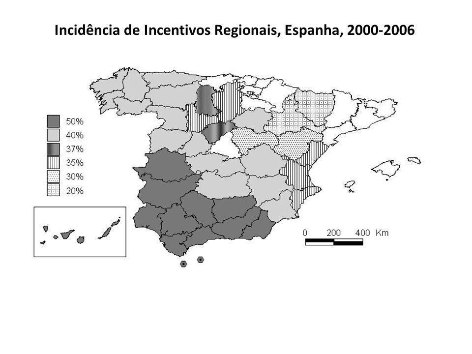 Incidência de Incentivos Regionais, Espanha, 2000-2006