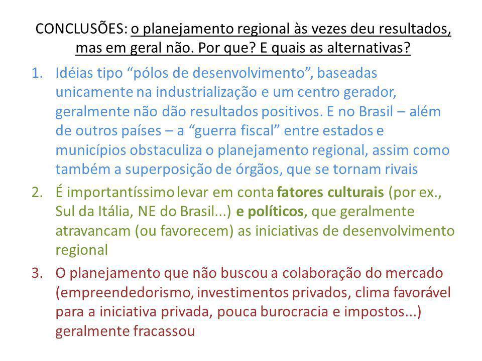 """CONCLUSÕES: o planejamento regional às vezes deu resultados, mas em geral não. Por que? E quais as alternativas? 1.Idéias tipo """"pólos de desenvolvimen"""