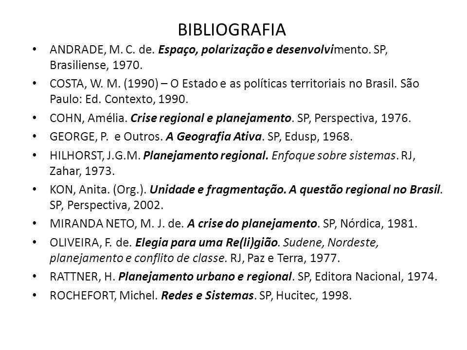 BIBLIOGRAFIA ANDRADE, M. C. de. Espaço, polarização e desenvolvimento. SP, Brasiliense, 1970. COSTA, W. M. (1990) – O Estado e as políticas territoria