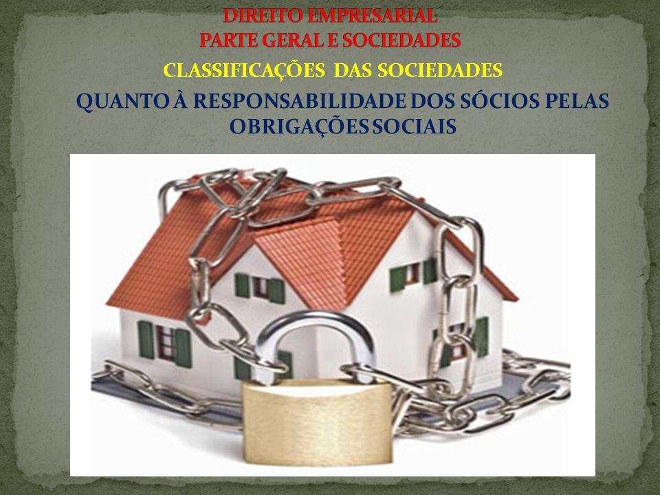 CLASSIFICAÇÕES DAS SOCIEDADES QUANTO À RESPONSABILIDADE DOS SÓCIOS PELAS OBRIGAÇÕES SOCIAIS 2.