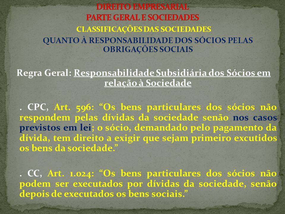 CLASSIFICAÇÕES DAS SOCIEDADES QUANTO À RESPONSABILIDADE DOS SÓCIOS PELAS OBRIGAÇÕES SOCIAIS 3.