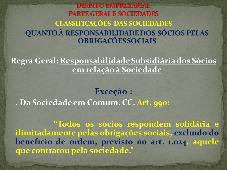 CLASSIFICAÇÕES DAS SOCIEDADES QUANTO À RESPONSABILIDADE DOS SÓCIOS PELAS OBRIGAÇÕES SOCIAIS Regra Geral: Responsabilidade Subsidiária dos Sócios em relação à Sociedade Exceção :.