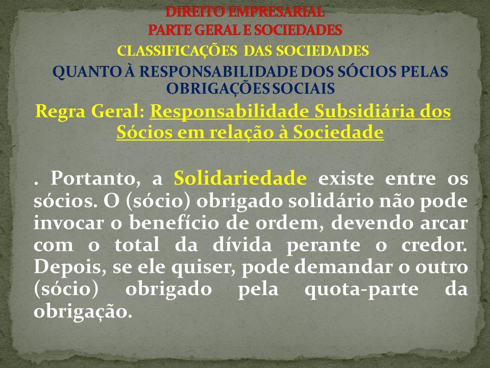 CLASSIFICAÇÕES DAS SOCIEDADES QUANTO À RESPONSABILIDADE DOS SÓCIOS PELAS OBRIGAÇÕES SOCIAIS Regra Geral: Responsabilidade Subsidiária dos Sócios em relação à Sociedade.