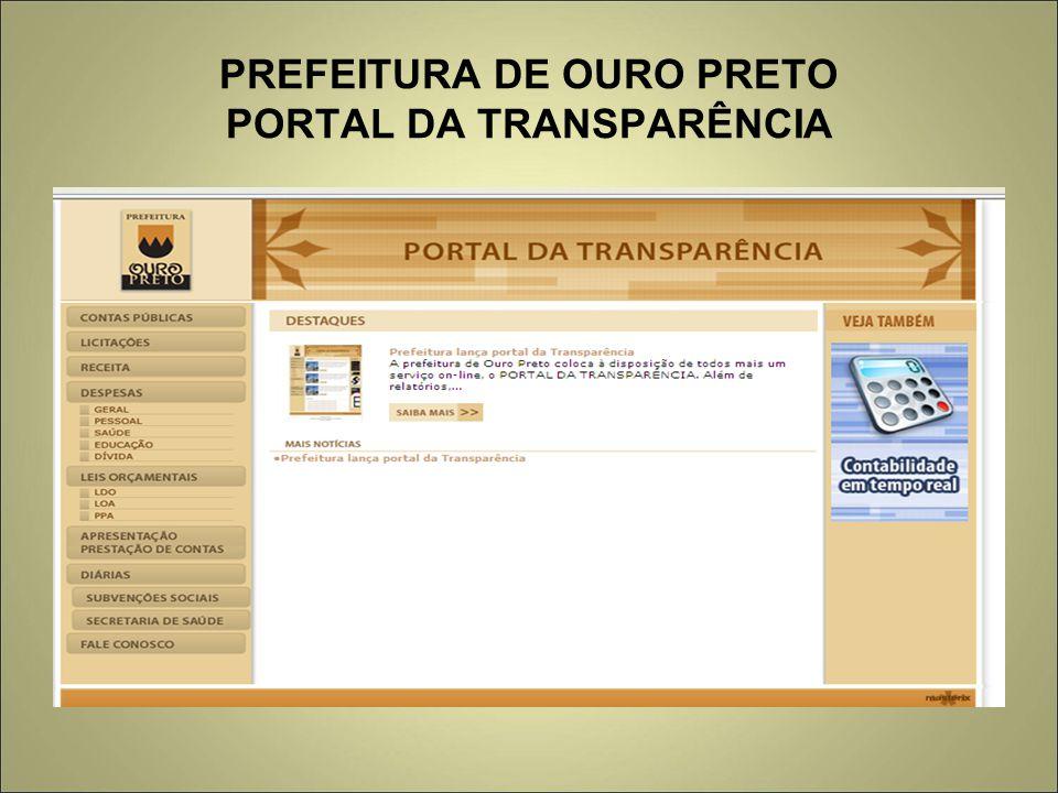 PREFEITURA DE OURO PRETO PORTAL DA TRANSPARÊNCIA