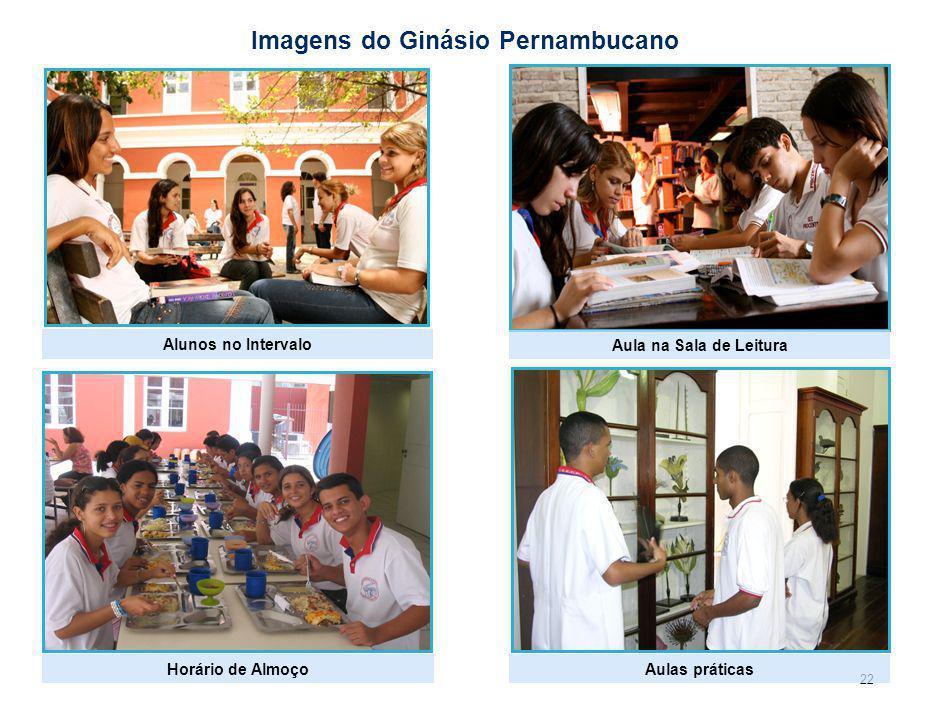 22 Imagens do Ginásio Pernambucano Horário de Almoço Aula na Sala de Leitura Aulas práticas Alunos no Intervalo