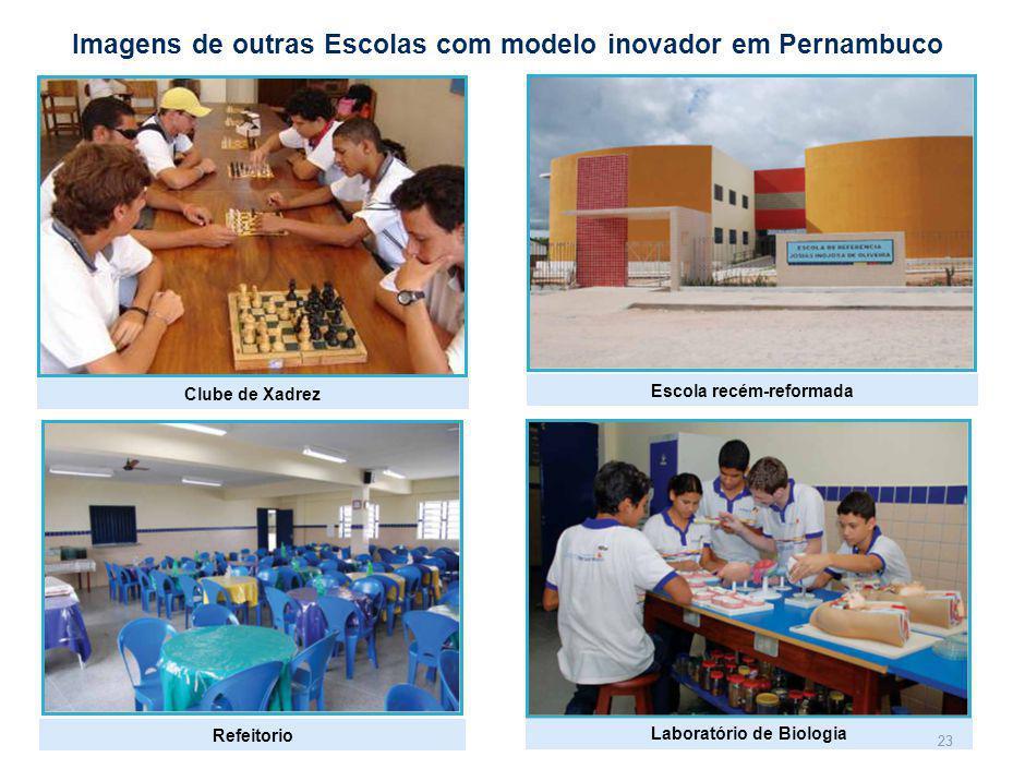 23 Imagens de outras Escolas com modelo inovador em Pernambuco Laboratório de Biologia Escola recém-reformada Clube de Xadrez Refeitorio