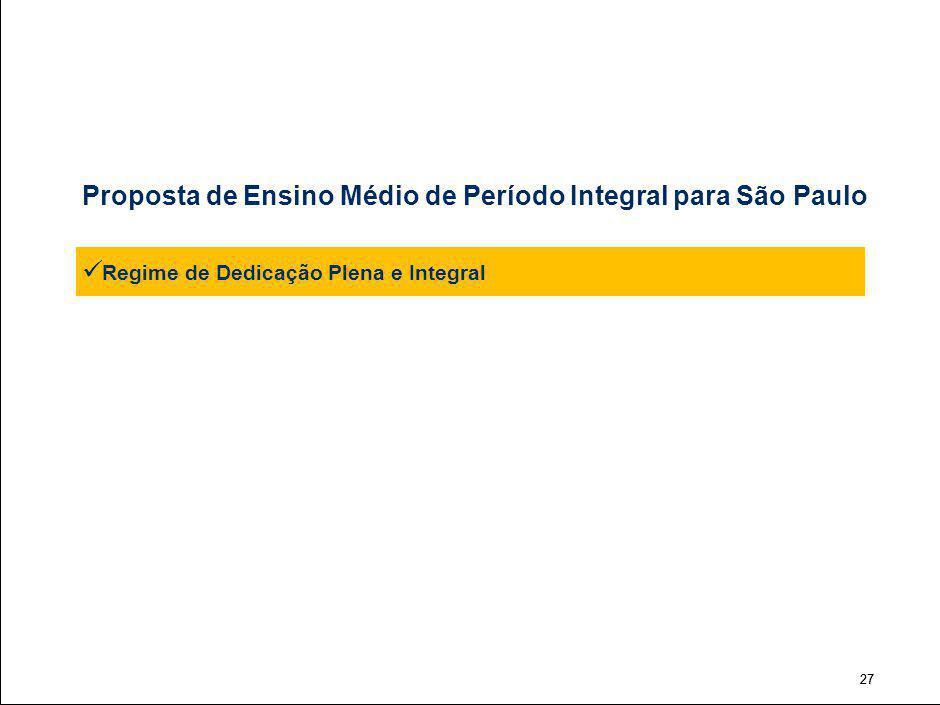 27 Proposta de Ensino Médio de Período Integral para São Paulo Regime de Dedicação Plena e Integral