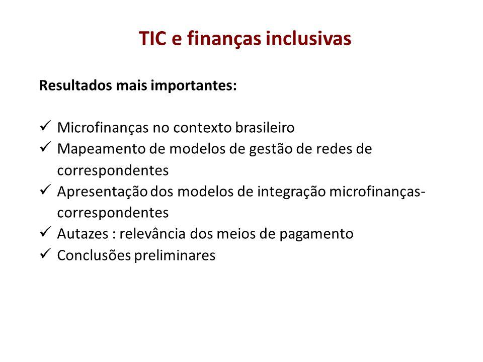 Resultados mais importantes: Microfinanças no contexto brasileiro Mapeamento de modelos de gestão de redes de correspondentes Apresentação dos modelos