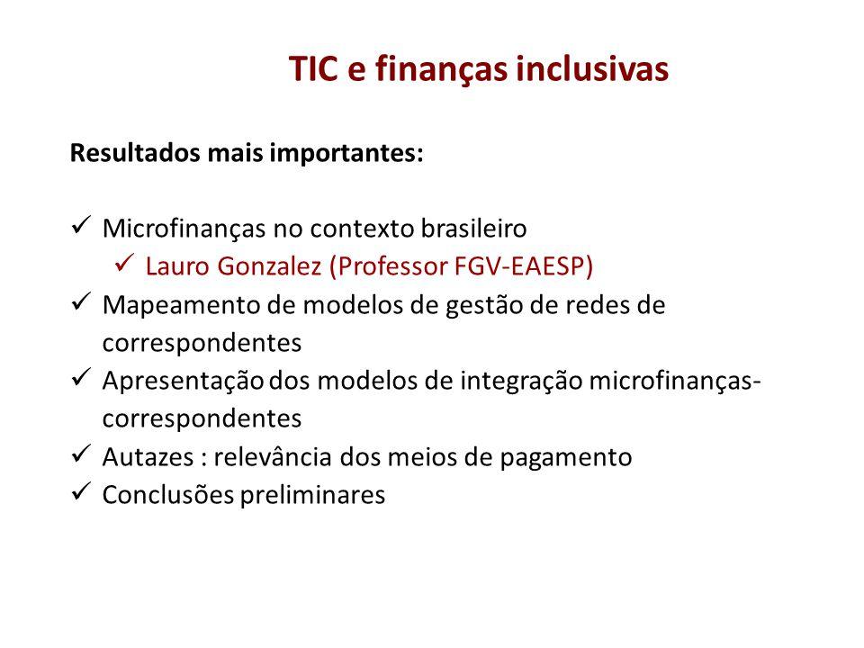 Resultados mais importantes: Microfinanças no contexto brasileiro Lauro Gonzalez (Professor FGV-EAESP) Mapeamento de modelos de gestão de redes de cor