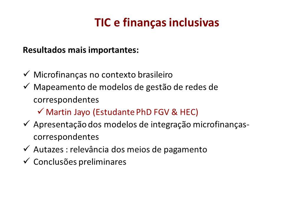 Resultados mais importantes: Microfinanças no contexto brasileiro Mapeamento de modelos de gestão de redes de correspondentes Martin Jayo (Estudante P