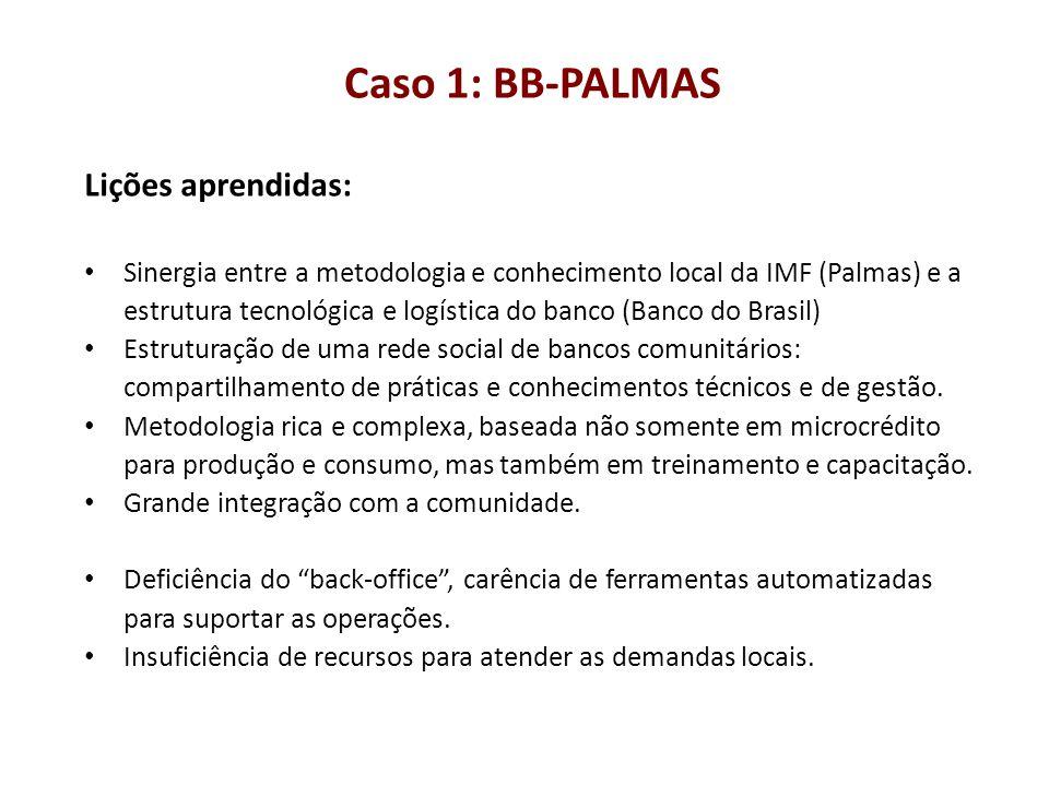 Caso 1: BB-PALMAS Lições aprendidas: Sinergia entre a metodologia e conhecimento local da IMF (Palmas) e a estrutura tecnológica e logística do banco