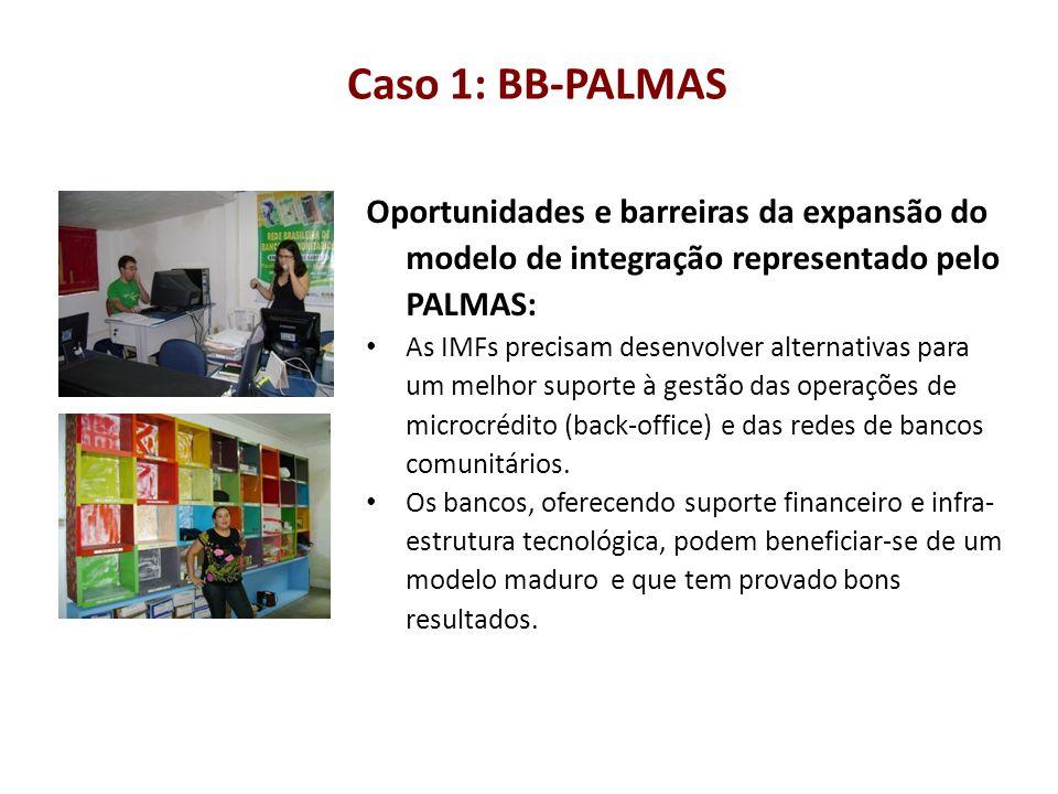 Caso 1: BB-PALMAS Oportunidades e barreiras da expansão do modelo de integração representado pelo PALMAS: As IMFs precisam desenvolver alternativas pa