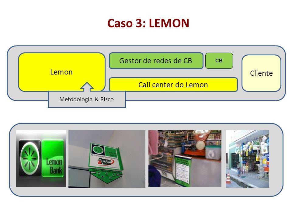 Caso 3: LEMON Lemon Gestor de redes de CB Cliente Call center do Lemon CB Metodologia & Risco