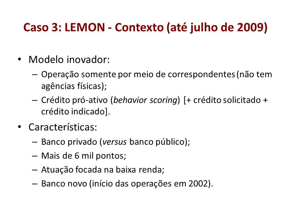 Caso 3: LEMON - Contexto (até julho de 2009) Modelo inovador: – Operação somente por meio de correspondentes (não tem agências físicas); – Crédito pró
