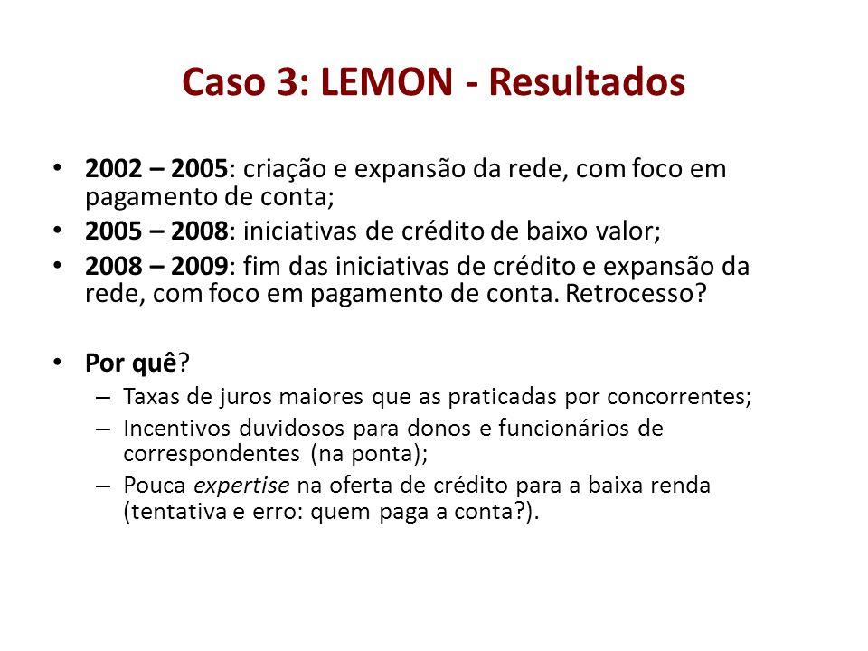 Caso 3: LEMON - Resultados 2002 – 2005: criação e expansão da rede, com foco em pagamento de conta; 2005 – 2008: iniciativas de crédito de baixo valor