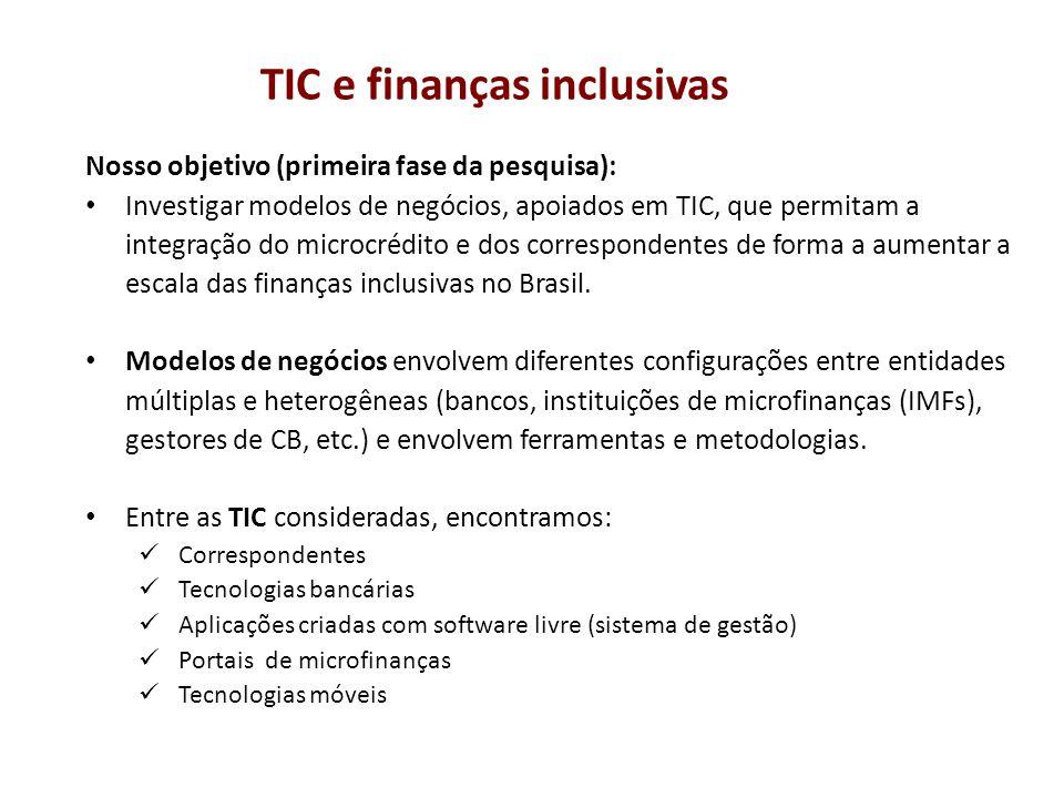 Nosso objetivo (primeira fase da pesquisa): Investigar modelos de negócios, apoiados em TIC, que permitam a integração do microcrédito e dos correspon