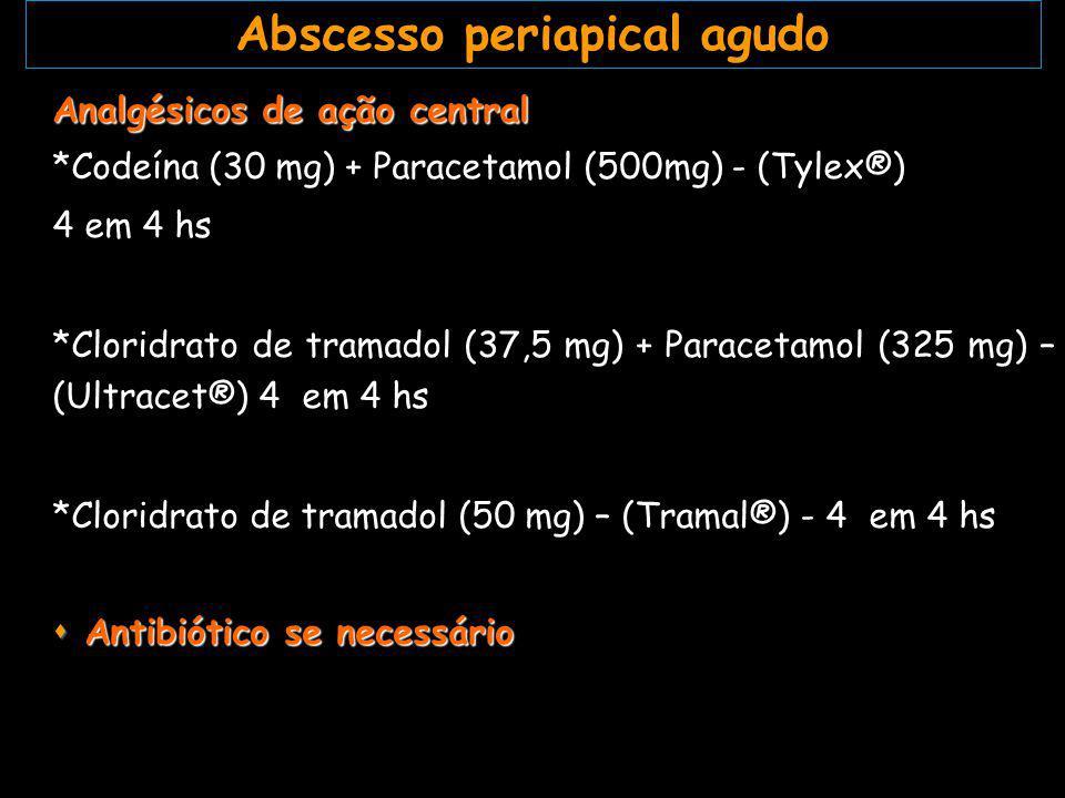 Infecções moderadas: *Amoxicilina (Amoxil ® )-500mg-1 caps 8/8 hs Infecções severas: *Amoxicilina-500mg +metronidazol-250 mg (Amoxil ® +Flagyl ® ) 1 caps + 1 comp 8/8 hs *Amoxicilina-500mg + Ácido clavulânico-125mg (Clavulin®) 1 comp 8/8 hs Terapêutica com antibiótico para abscesso periapical agudo
