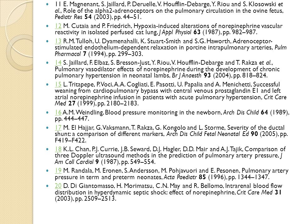 11 E. Magnenant, S. Jaillard, P. Deruelle, V. Houfflin-Debarge, Y. Riou and S. Klosowski et al., Role of the alpha2-adrenoceptors on the pulmonary cir