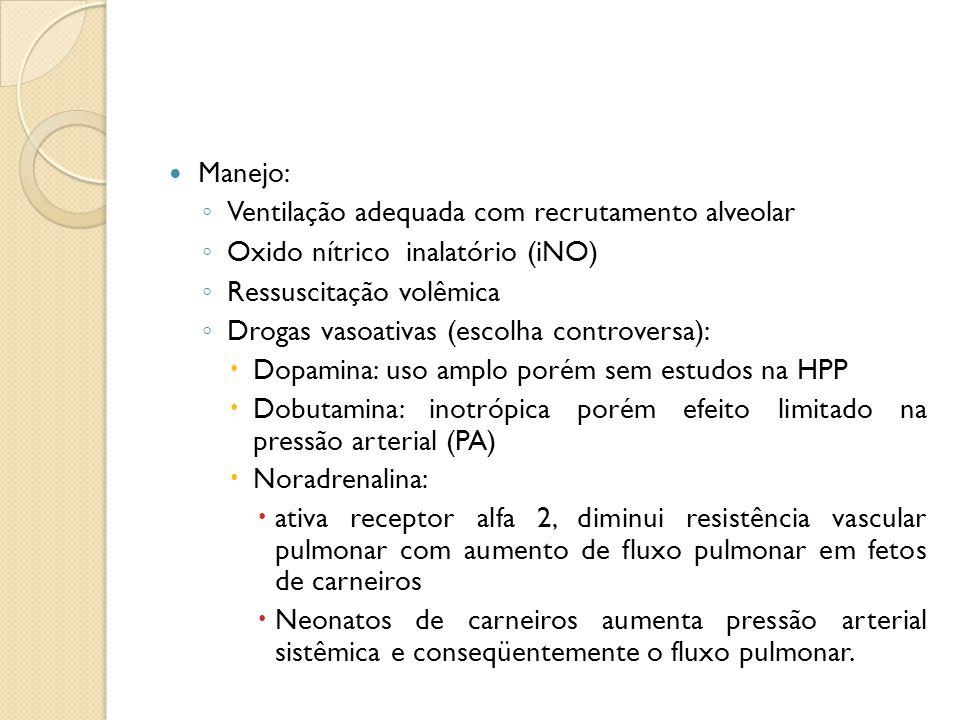Manejo: ◦ Ventilação adequada com recrutamento alveolar ◦ Oxido nítrico inalatório (iNO) ◦ Ressuscitação volêmica ◦ Drogas vasoativas (escolha controv